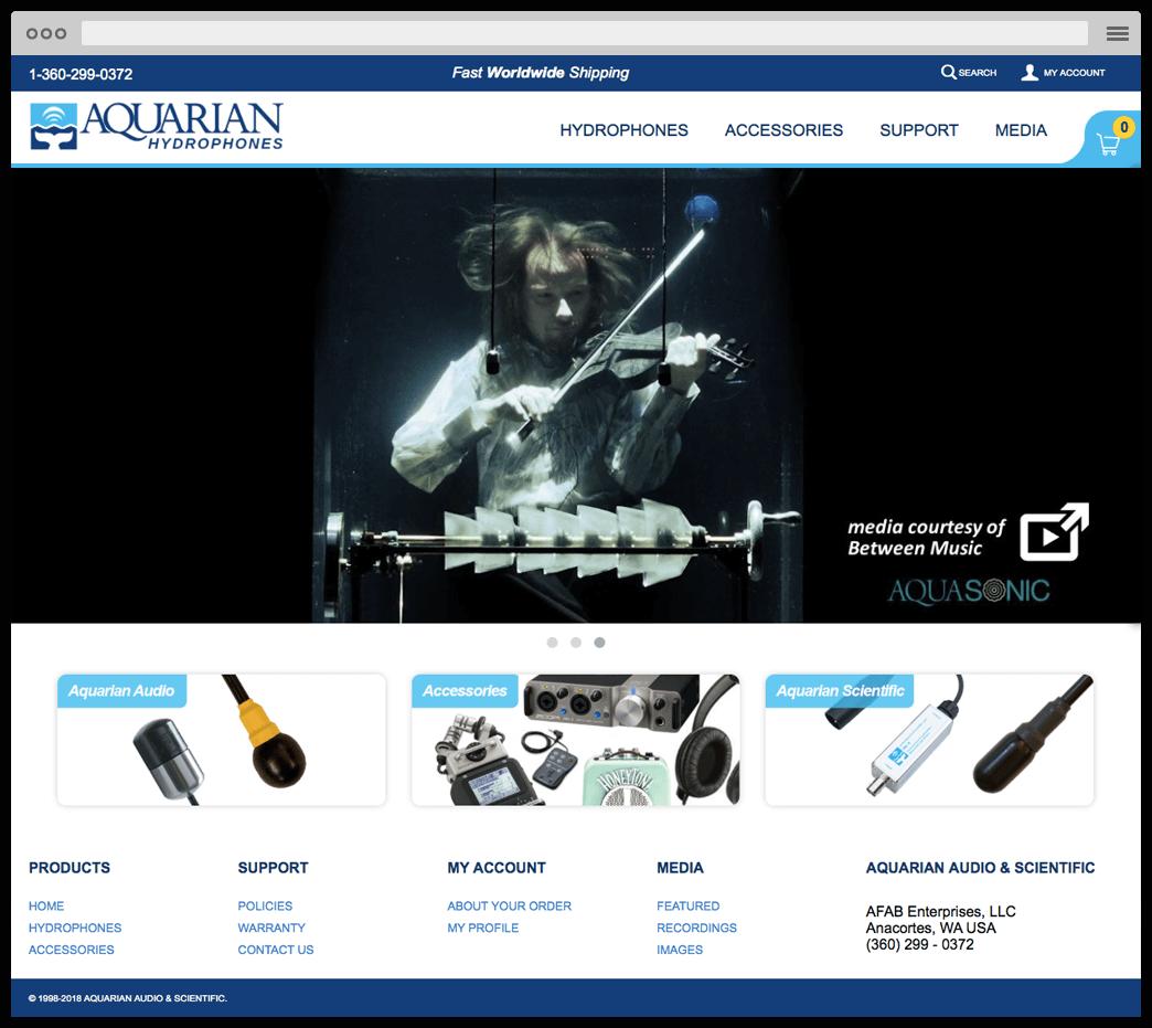 aquarian ecommerce website frontpage screen