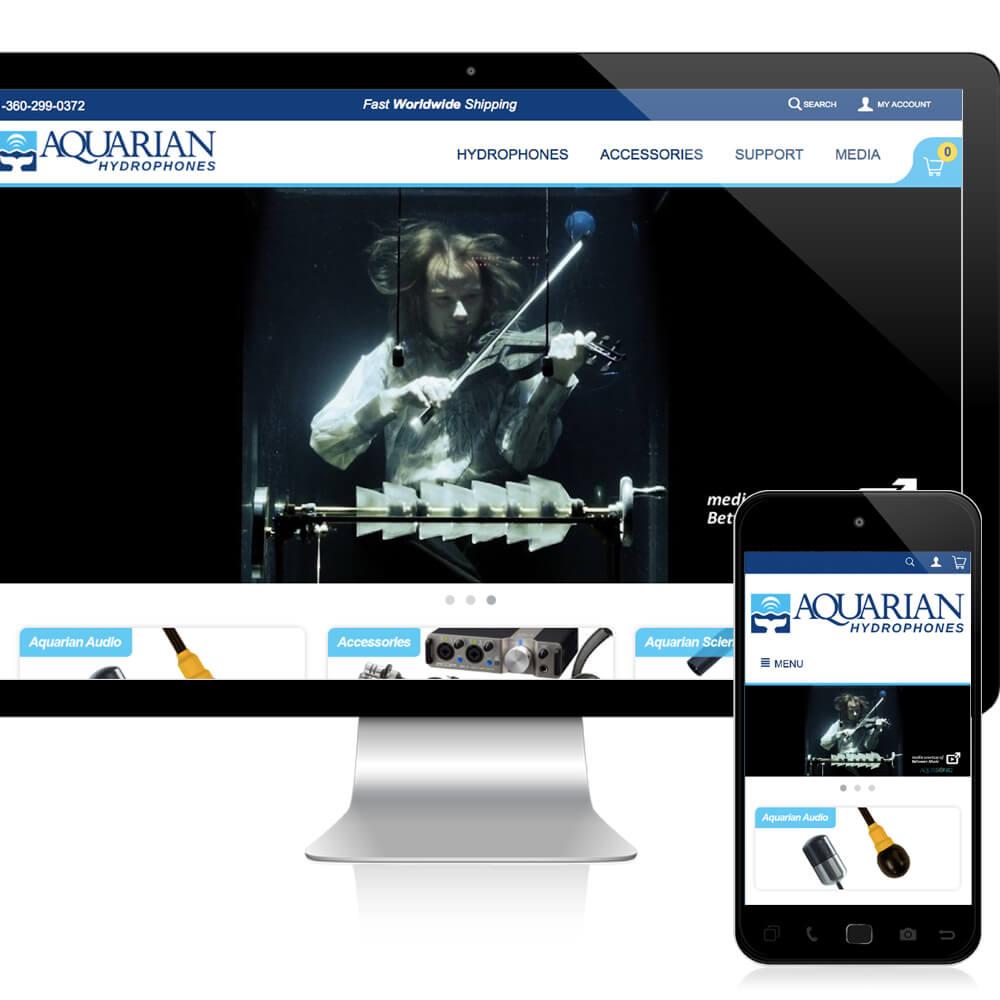 aquarian ecommerce website responsive mockup