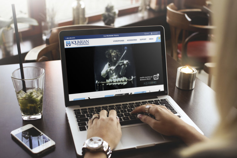aquarian website laptop mockup