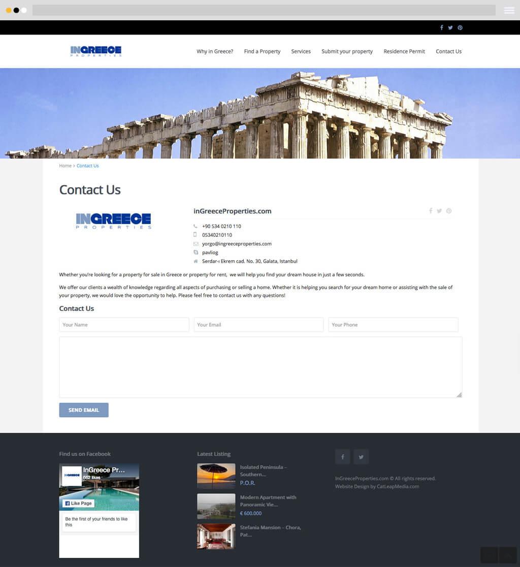 ingreece properties contact us page
