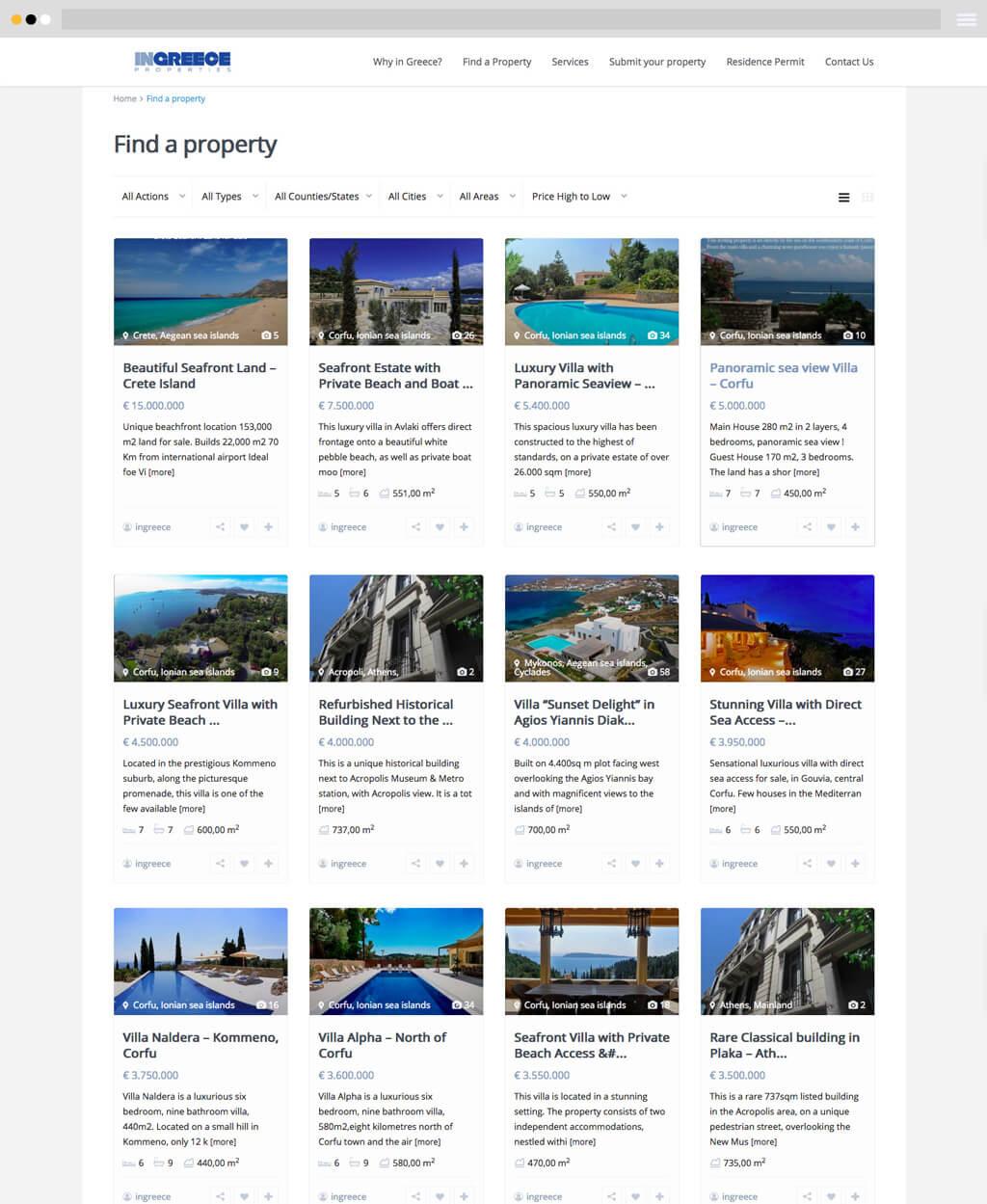 ingreece properties listings page