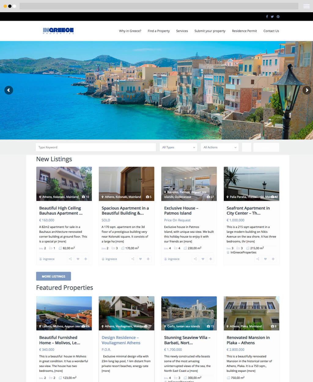 ingreece properties real estate website frontpage