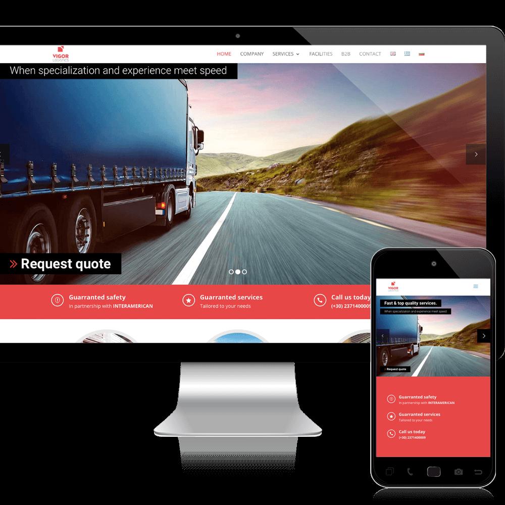 vigor logistics website design mockup