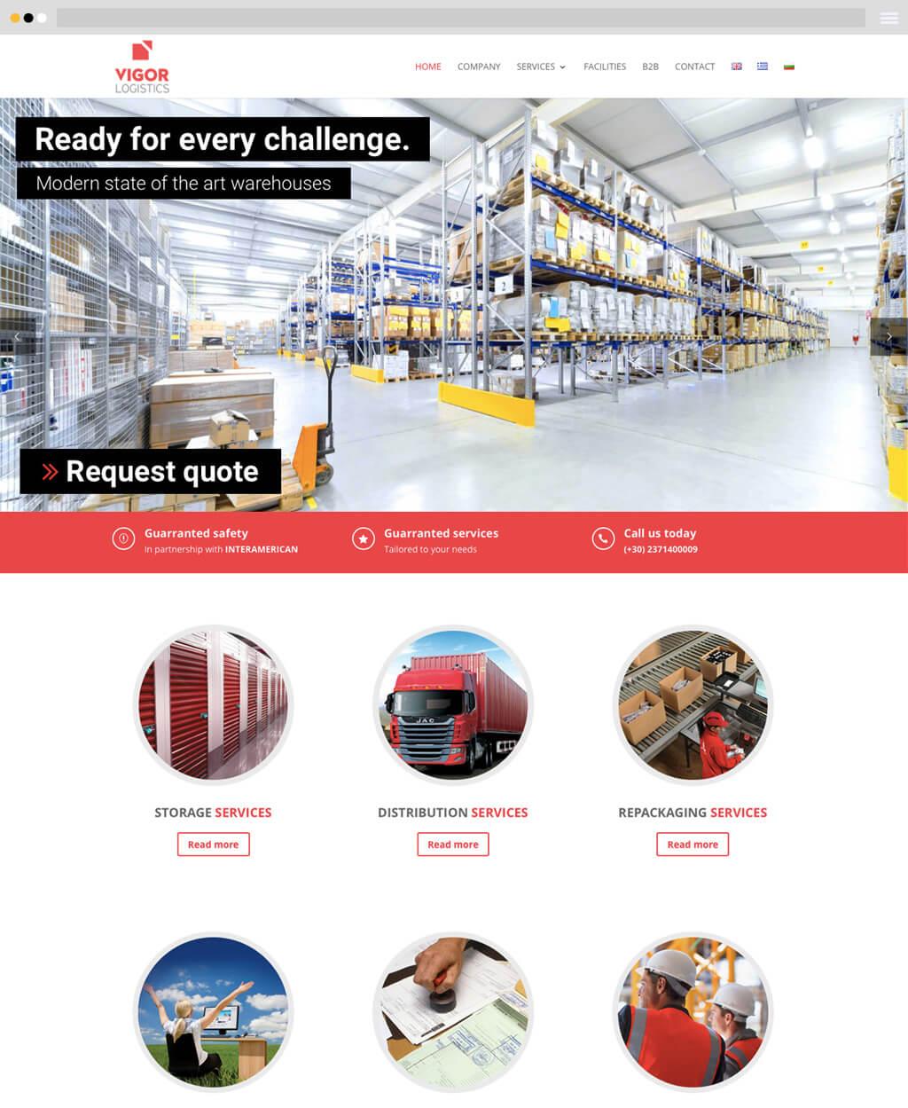 vigor logistics website design frontpage