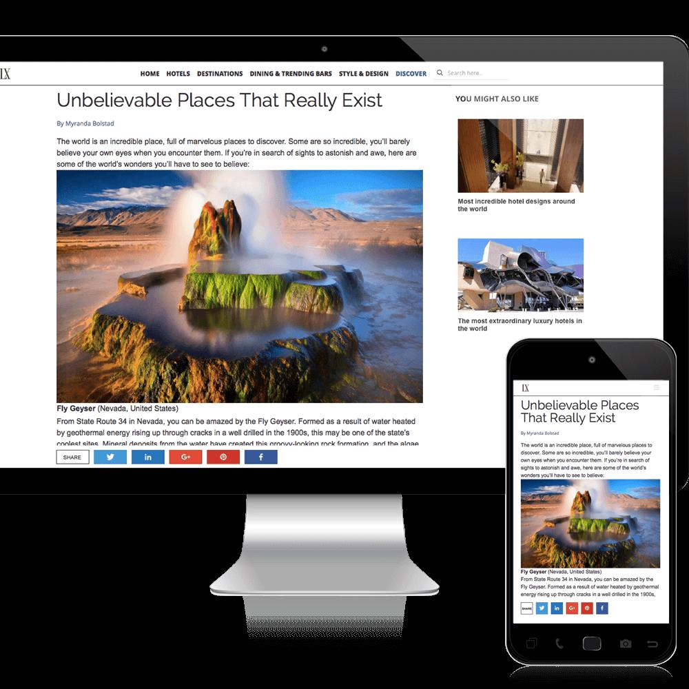 travel magazine website design mockup