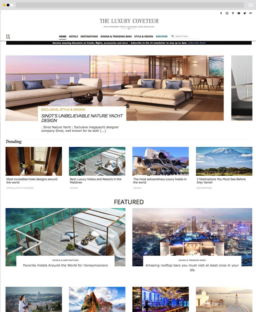 travel magazine website design frontpage