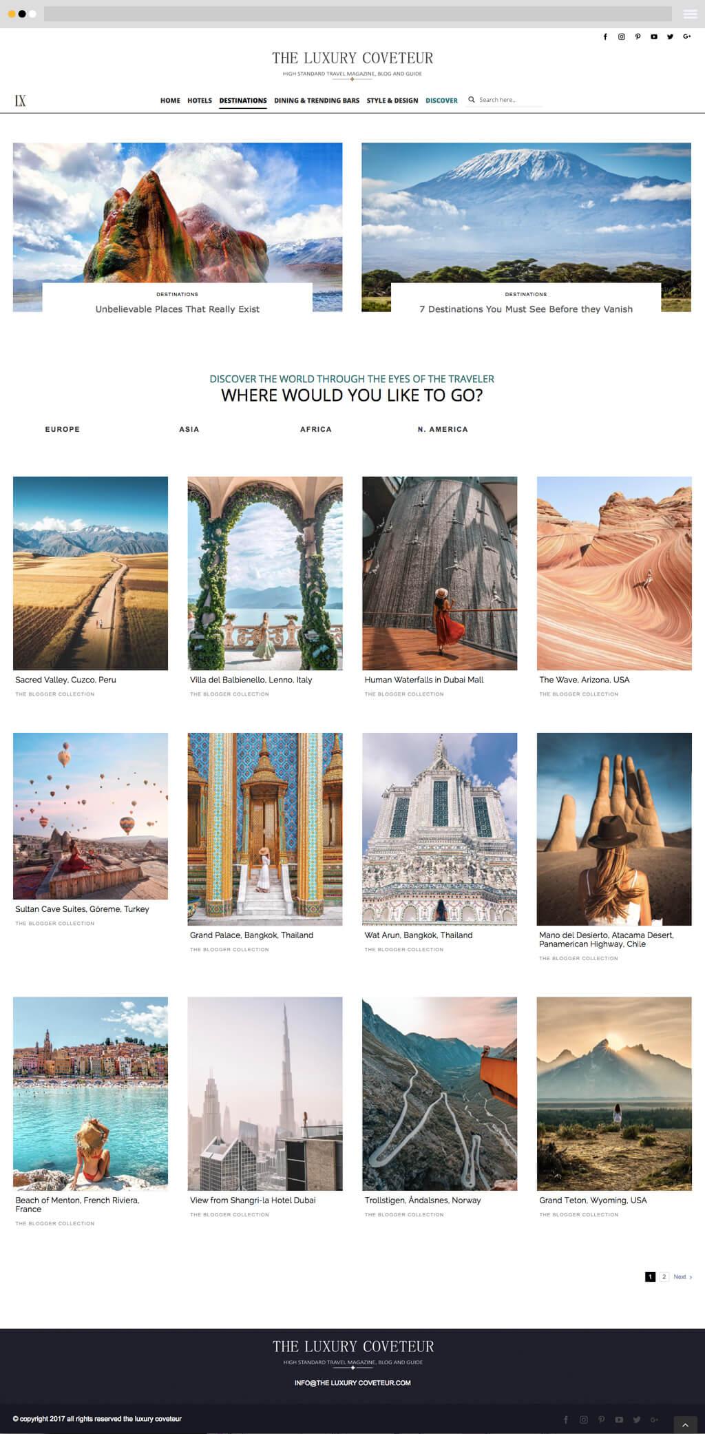 travel magazine website design category