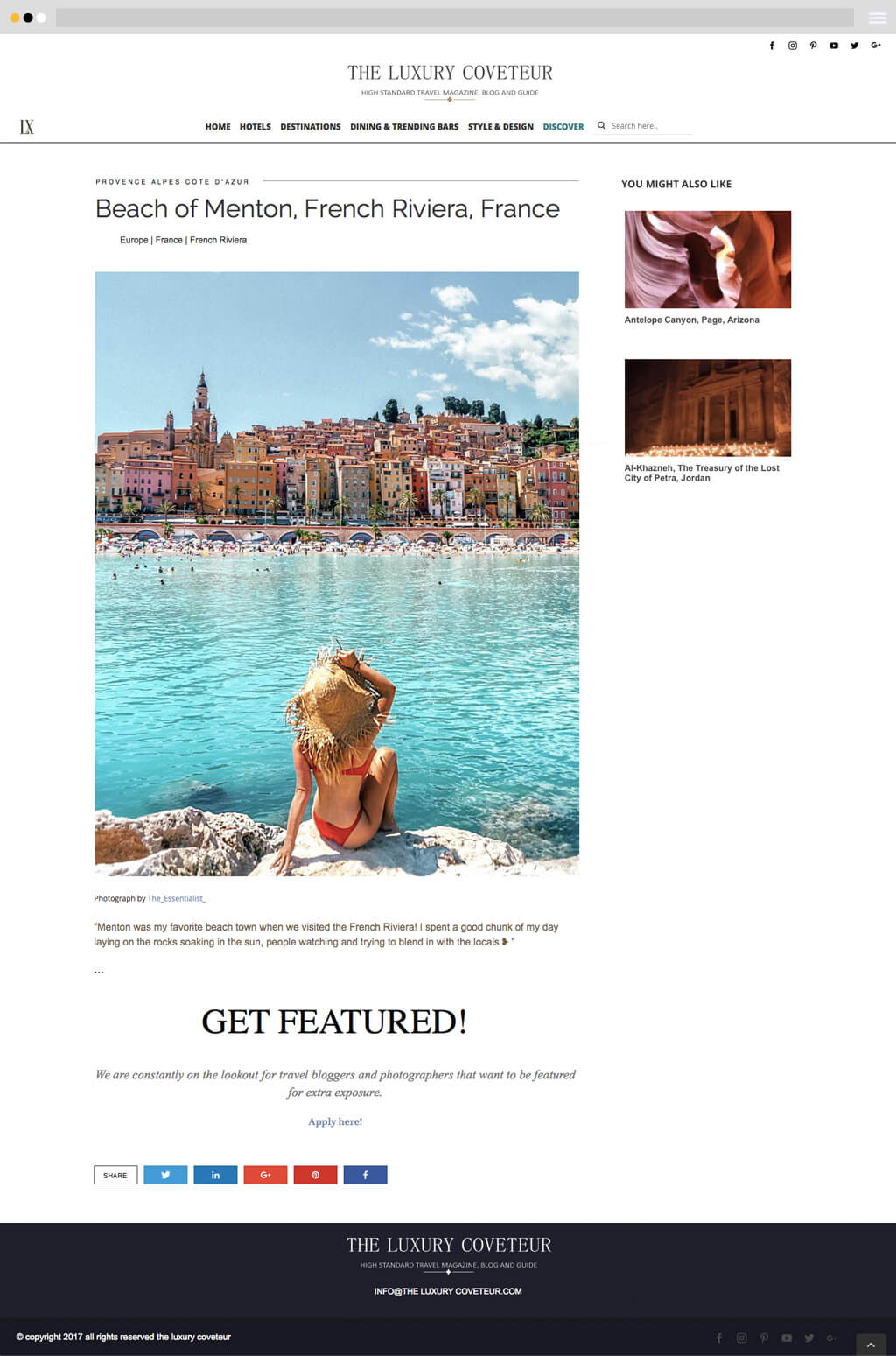 travel magazine website design article