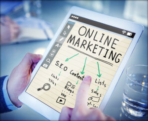 online marketing SEO diagram on tablet
